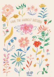 Roger La Borde Happiest Birthday Flowers Greeting Card (GCN 221)