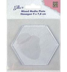 Nellie Snellen Mixed Media Plate Hexagon 8,8cm (NMMP008)