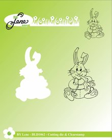 By Lene Metal Dies + Clear Stamp Rabbit Eating Carrots (BLD1062)