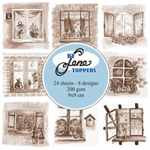By Lene Toppers 9x9cm Windows Sepia (BLT002)