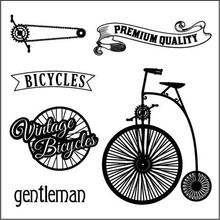 ScrapBerry's Set Of Clear Stamps 10,5x10,5 cm Auto Vintage Bicycles (SCB4904016b)