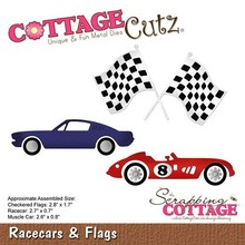Scrapping Cottage CottageCutz Racecars & Flags (CC-474)