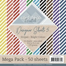 Card Deco Designer Sheets Stripes Brights 6x6 Inch Mega Pack (CDDSMP005)