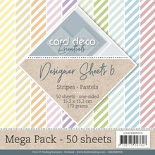 Card Deco Designer Sheets Stripes Pastels 6x6 Inch Mega Pack (CDDSMP006)