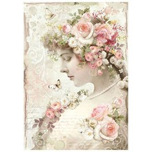 Stamperia Rice Paper A4 Floral Profile Roses (DFSA4224)