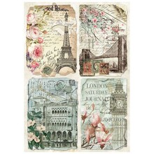 Stamperia Rice Paper A4 Vintage Postcards (DFSA4225)