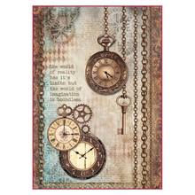 Stamperia Rice Paper A4 Clockwise Clock & Keys (DFSA4288)
