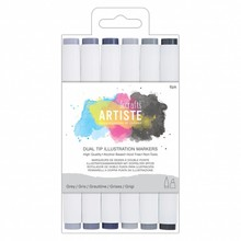 Artiste Dual Tip Illustration Markers Greys (DOA 851400)