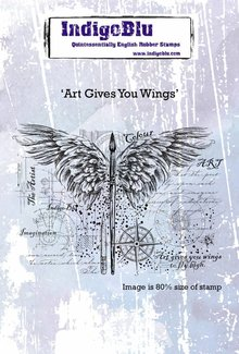 IndigoBlu Art Gives You Wings A6 Rubber Stamp (IND0441)