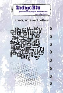 IndigoBlu Rivets Wire and Letters A6 Rubber Stamp (IND0444)