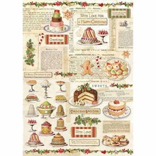 Stamperia Rice Paper A4 Christmas Vintage Patisserie (DFSA4329)