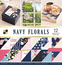 DCWV Navy Floral 12x12 Inch Premium Stack (609069)