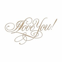 Spellbinders Copperplate Script I Love You Glimmer Hot Foil Plate (GLP-016)