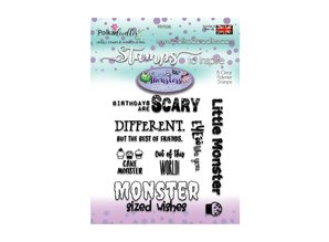 Polkadoodles Little Monsters Scary Messages Clear Stamps (PD7036)