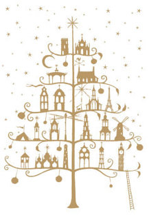 Roger La Borde Golden Architectural Tree Greeting Card (GCX 886)