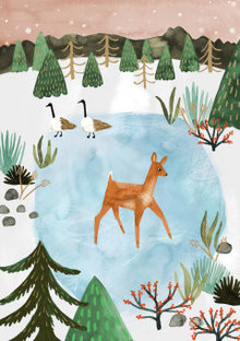 Roger La Borde Deer on Ice Greeting Card (GCX 902)