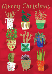 Roger La Borde Nine Plant Pots Greeting Card (GCX 908)