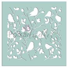 Polkadoodles Tweet Branches 6x6 Inch Creative Stencil (PD7530)