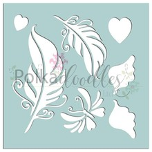 Polkadoodles Feathers & Wings 6x6 Inch Creative Stencil (PD7532)