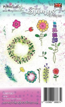 Polkadoodles Flower Power 1 Clear Stamps (PD7490)