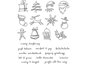 Stampers Anonimous Cling Stamps December Doodles (CMS355)