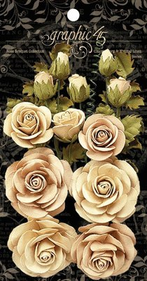 Graphic 45 Classic Ivory & Natural Linen Flowers (4501784)