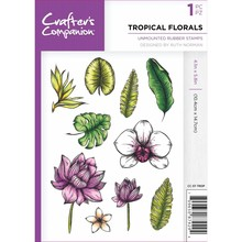 Crafter's Companion Tropical Florals Unmounted Rubber Stamp Set (CC-ST-TROP)