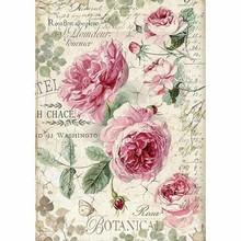 Stamperia Rice Paper A4 Botanic English Roses (DFSA4358)