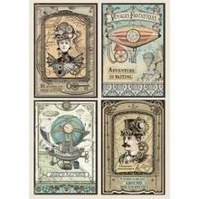 Stamperia Rice Paper A4 Voyages Fantastiques Cards (DFSA4368)