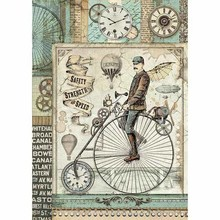 Stamperia Rice Paper A4 Voyages Fantastiques Retro Bicycle (DFSA4371)