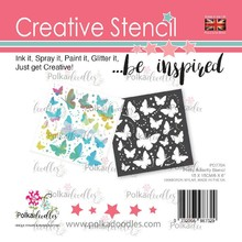 Polkadoodles Pretty Butterfly 6x6 Inch Creative Stencil (PD7704)