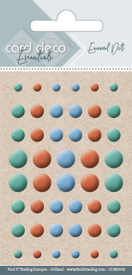 Card Deco Enamel Dots, Teal, Orange, Blue (CDEED002)