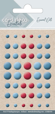 Card Deco Enamel Dots, Dark Blue, Light Blue, Red (CDEED003)