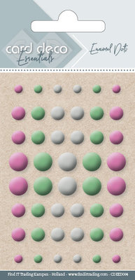 Card Deco Enamel Dots, Pink, Light Green, White (CDEED004)