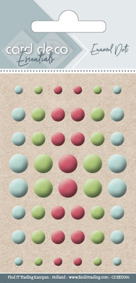 Card Deco Enamel Dots, Light Blue, Light Green, Dark Red (CDEED006)