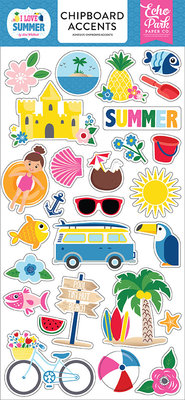 Echo Park I Love Summer 6x13 Inch Chipboard Accents (SU178021)