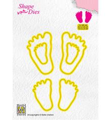 Nellie Snellen Shape Die 3x Baby Feet (SD166)