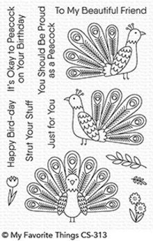 My Favorite Things Playful Peacock Clear Stamps (CS-313)