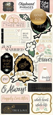 Echo Park Wedding Day 6x13 Inch Chipboard Phrases (WD181022)