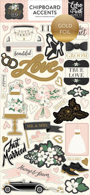 Echo Park Wedding Day 6x13 Inch Chipboard Accents (WD181021)