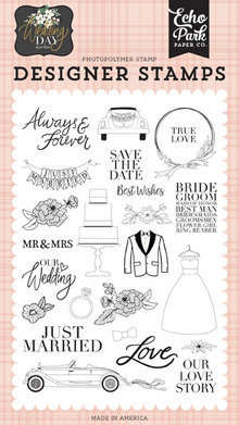 Echo Park Wedding Day Our Love Story Clear Stamps (WD181045)