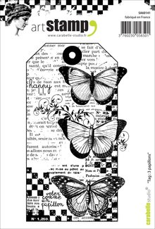 Carabelle Studio Tag 3 Papillons Cling Stamp (SA60141)