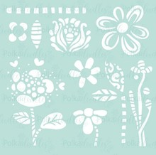 Polkadoodles Flower Doodles 6x6 Inch Creative Stencil (PD7908)