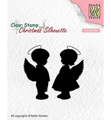 Nellie Snellen Angel Girl and Boy Clear Stamp (CSIL008)