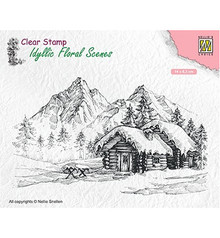 Nellie Snellen Snowy Landscape with Cottage Clear Stamp (IFS015)