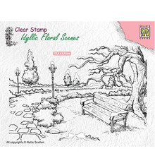 Nellie Snellen Wintery Park with Bench Clear Stamp (IFS016)