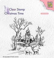 Nellie Snellen Wintery Scene with Church & Reindeer Clear Stamp (CT027)