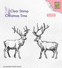 Nellie Snellen Two Reindeer Clear Stamp (CT028)