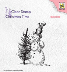 Nellie Snellen Snowman with Tree Clear Stamp (CT029)