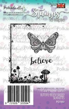 Polkadoodles Butterfly Believe Clear Stamps (PD7889)